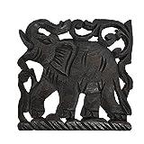 Charging Elephant Trivet Square Hot Plate Hand Carved Teak Wood