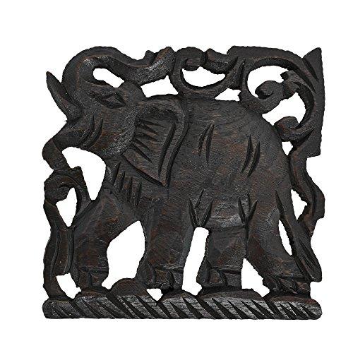 Charging Elephant Trivet Square Hot Plate Hand Carved Teak Wood by AeraVida