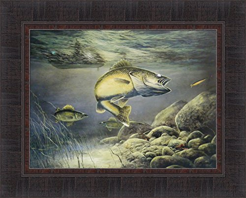 Taking The Bait by Jim Hansel 17x21 Fish Walleye Fishing Framed Art Print Wall Décor Picture - Fishing Framed Print