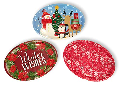 - Set of Three Large Oval Christmas Holiday Design Melamine Platter Dishes (Christmas Tree Fun, Winter Wishes & Red Snowflake)