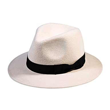 2e81a9a4f2b71 Wool Fedora Hat-Women s Felt Floppy Panama Hats Vintage Classic Ladies Wide Brim  Cap s Band