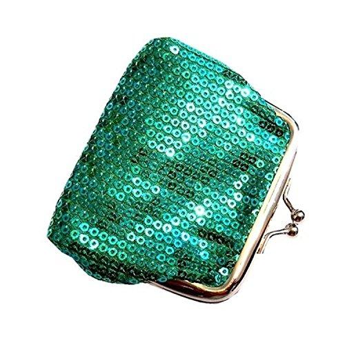 TOOGOO(R) verde Moda delle monete Sequined di Hasp signora Sacchetto