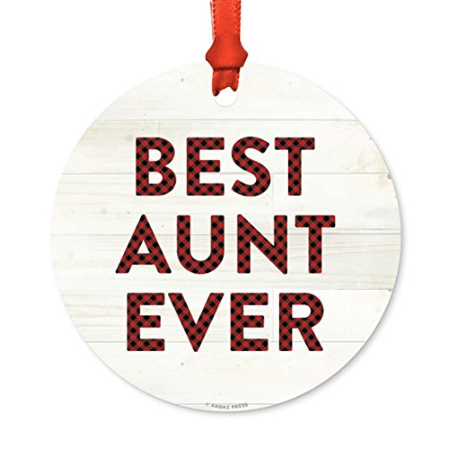 Andaz Press Round Metal Christmas Ornament, Best Aunt Ever, Red Plaid on Light Rustic Wood, 1-Pack, Includes Ribbon and Gift Bag, Birthday Present Gift Ideas