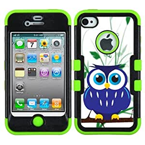 One Tough Shield ? Hybrid 3-Layer Phone Case (Black/Green) for Apple iPhone 4 4S - (Blue Owl)