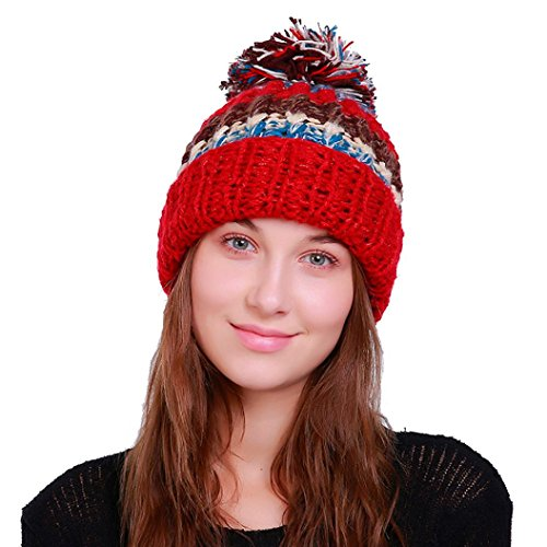 Red Hats Crochet Hat (YANG-YI 2017 Women Hats Women Warm Crochet Winter Knit Ski Beanie Skull Caps Hat Hairy Bulb (Red, one size))