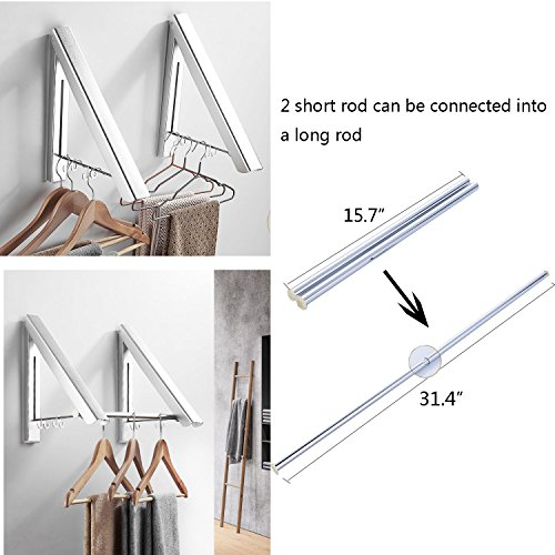 Bathroom Wall Mounted Black Clothes Hanger Indoor Outdoor Cloth Drying Rack Retractable Aluminium Hanger Laundry Balcony Home Improvement Bathroom Shelves