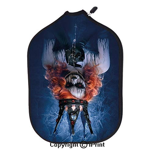 Smooth And Comfortable Zipper 3D Pickleball Paddle Racket Cover Case,Queen of Death Scary Body Art Halloween Evil Face Bizarre Make Up Zombie(size:8.23