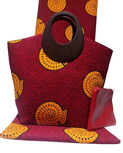 3 Imprimé Main Cire De Tissu Red À Sac Tote Mesdames Designer Pièces Africaine C1Hxnq