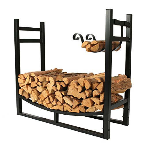 Outdoor Heavy Duty Firewood Log Rack with Wood Holder, 30 Inch Tall ()