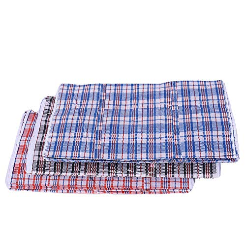 Set of 4 Extra-Large Plastic Checkered Storage Laundry Shopping Bags W. Zipper & Handles Size 23x23x5