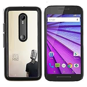 Queen Pattern - FOR Motorola Moto G (3rd Gen 2015) - microphone music mind protest freedom - Cubierta del caso de impacto con el patr???¡¯???€????€???