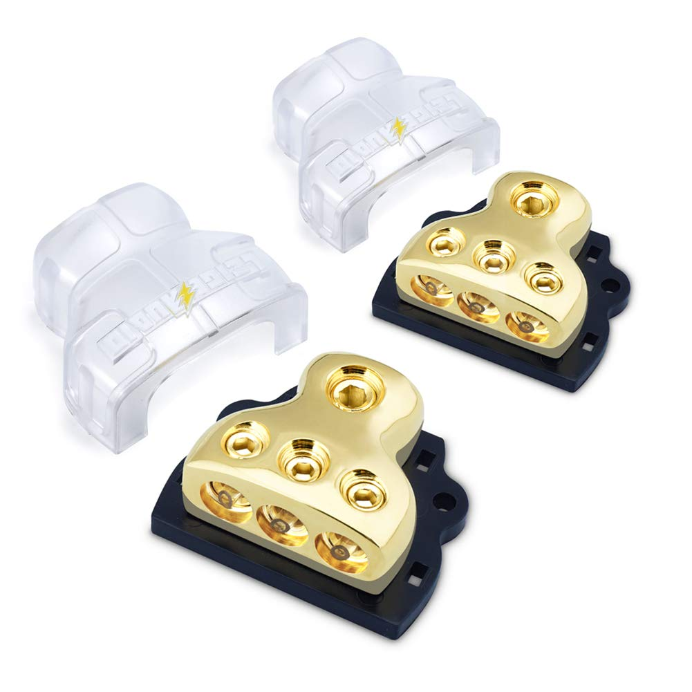 LEIGESAUDIO 0/2/4 Gauge in 4/8/10 Gauge Out Copper Amp Power Distribution Block for Car Audio Splitter 3 Way Distribution Block(2 Pack)
