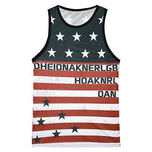 perfectCOCO Summer Tops 3D Printed American Flag Mens Sleeveless Tees Cool Tank Tops Crew Neck Shirts White]()