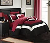 Bed in a Bag King Clearance Chic Home Duke 10 Piece Comforter Set Complete Bed in a Bag Pieced Color Block Patterned Bedding with Sheet Set And Decorative Pillows Shams Included, King Black Red