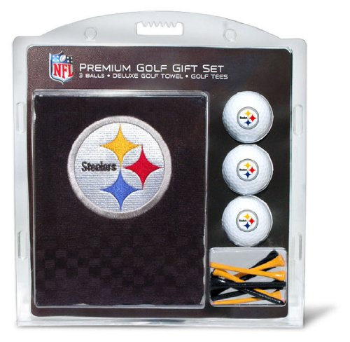 Team Golf NFL Pittsburgh Steelers Gift Set Embroidered Golf Towel, 3 Golf Balls, and 14 Golf Tees 2-3/4 Regulation, Tri-Fold Towel 16 x 22 & 100% Cotton