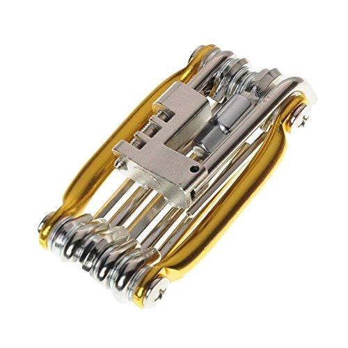 LARS360 Fahrrad Multitool 11 in 1 Multifunktionswerkzeug mit Inbusschlüssel und Steckschlüsseln klappbar Tools Kit Gold