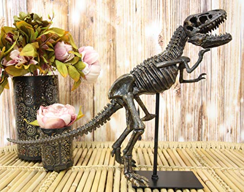 "Ebros Prehistoric Standing Tyrannosaurus Rex Dinosaur Fossil Skeleton Statue On Museum Gallery Mount 19.25"" Long for Trex Archaeology Fans Excavation of Ice Age Jurassic Era Decor Figurine Model"