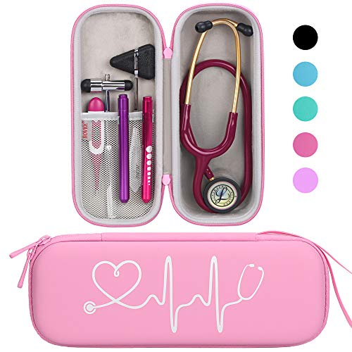 BOVKE Travel Carrying Case for Classic III Stethoscope - Extra Room for Taylor Percussion Reflex Hammer and Reusable LED Penlight, Pearl Pink