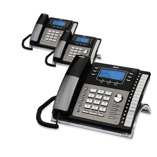 RCA 25424RE1 4-Line Expandable Phone System for Home / Office Desk - Base Speakerphone with Caller ID and Intercom, Compatible with Hearing Aids (3-Pack)