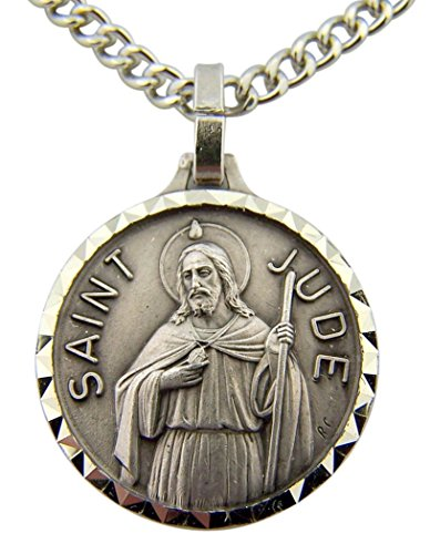 Jude Patron Saint Medal - DTC French Nickel Silver Patron Saint Jude The Apostle Medal, 1 Inch