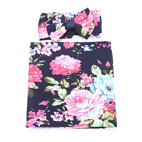 1 Pack BQUBO Newborn Floral Receiving Blankets Newborn Baby Swaddling with Headbands or Hats Sleepsack Toddler ()