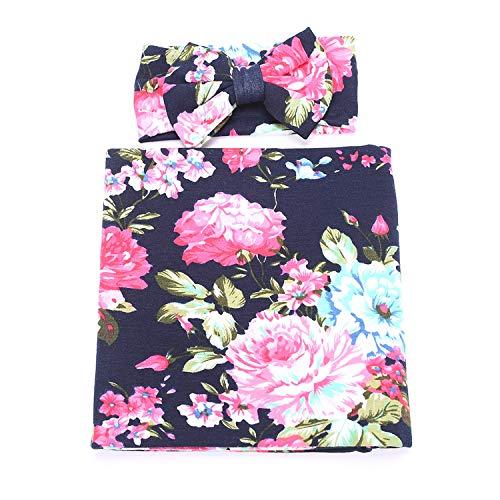 1 Pack BQUBO Newborn Floral Receiving Blankets Newborn Baby Swaddling with Headbands or Hats Sleepsack Toddler Warm