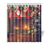 Artsadd Fashion Custom Shower Curtain Fireplace and Christmas Gift Tree Bathing Curtain 66x72 Inch Waterproof Bathroom Decor