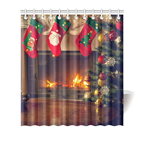 Artsadd Fashion Custom Shower Curtain Fireplace and Christmas Gift Tree Bathing Curtain 66x72 Inch Waterproof Bathroom Decor by Artsadd