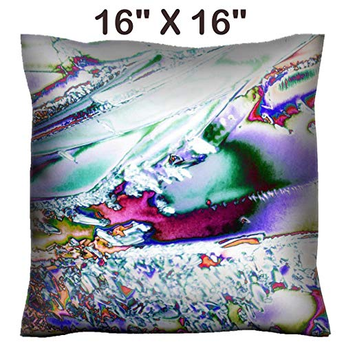 Liili 16x16 Throw Pillow Cover - Decorative Euro Sham Pillow Case Polyester Satin Soft Handmade Pillowcase Couch Sofa Bed Image ID: 16858058 Microcrystals of tartaric Acid in Polarized ()