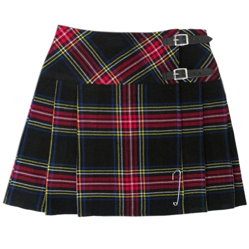 (Tartanista Womens 16.5 Inch Scottish Tartan Mini Kilt Skirt Black Stewart 12 US)