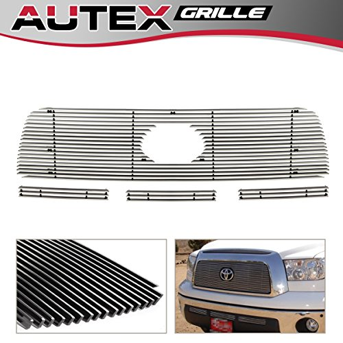 AUTEX T67841A Aluminum Polished Main Upper Grille + Lower Bumper Billet Grille Compatible With Toyota Tundra 2007 2008 2009 Grill Insert