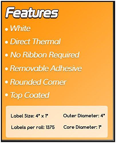 1 Inch Core - 4 x 1 Zebra Compatible Direct Thermal Quick Remove REMOVABLE Labels 04 Rolls for Zebra Desktop Printer GC420d GC420t GK420d GK420t GX420d GX420t GX430t LP2844 LP2442 TLP2844 ZP450 ZD500 ZD500R ZP500 ZP505 Photo #6