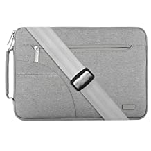 Mosiso Polyester Fabric Sleeve Case Cover Laptop Shoulder Briefcase Bag for 13-13.3 Inch MacBook Pro, MacBook Air, Ultrabook Netbook Tablet, Gray
