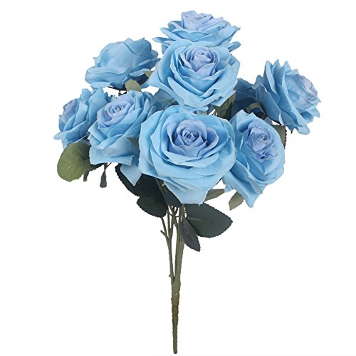 JAROWN 10 Heads Silk Rose Flowers Artificial Bouquet Arrangement for Wedding Home Decor Party Accessory Flores (Blue)