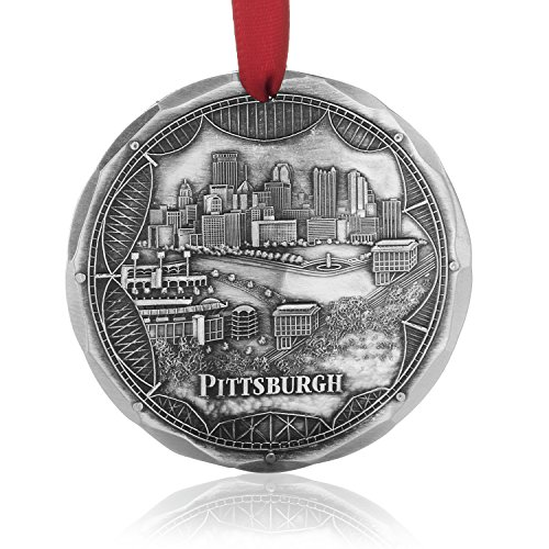 - Wendell August Pittsburgh Bridges Ornament - Engraved Aluminum Hand-Carved City Skyline on Pittsburgh's Three Rivers - Made in USA Tree Decoration, 4.3