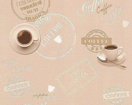 A.S. Création Tapete Faro 4, Mustertapete Coffee, Küchentapete, beige, braun, creme, 943082