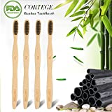 Bamboo Toothbrush Charcoal Toothbrush Soft Bristles for Teeth Whitening Individually Numbered BPA Free Organic Biodegradable Toothbrushes Pack of 4
