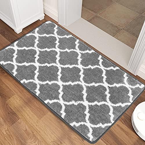 Gulenduo Indoor Doormat, Outdoor Indoor Mat 24″x36″ Non Slip Washable Quickly Absorb Moisture and Resist Dirt Rugs for Entrance, Geometry Gray