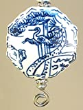 Large Asian Chinese White & Blue Porcelain Style Glass with Heron Egret Bird Nature Design Ceiling Fan Pull