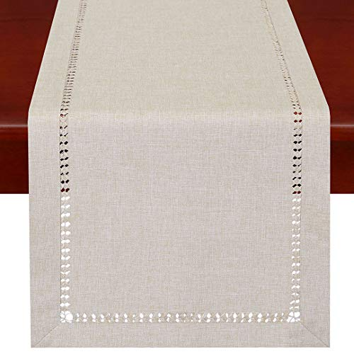 Handmade Hemstitched Polyester Rectangle Table Runners,Beige 14x48 inch ()