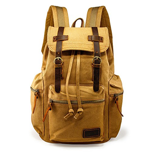 - GEARONIC TM 21L Vintage Canvas Backpack for Men Leather Rucksack Knapsack 15 inch Laptop Tote Satchel School Military Army Shoulder Rucksack Hiking Bag Khaki