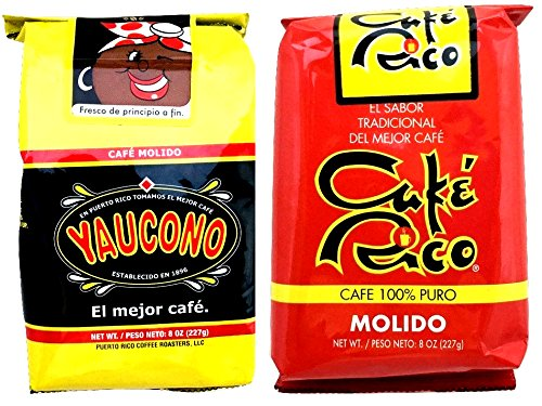 Puerto Rican Coffee Variety: Yaucono and Café Rico Ground Coffee – Café Yaucono y Café Rico Molido de Puerto Rico - in 8 oz bags (1lb Total)