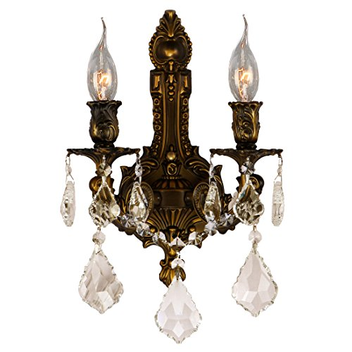 Worldwide Lighting Versailles Collection 2 Light Antique Bronze Finish & Golden Teak Crystal Wall Sconce 12