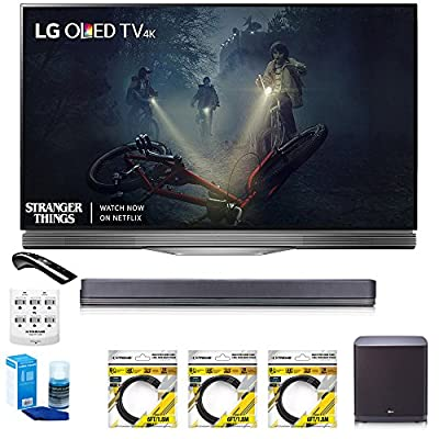 """LG 55"""" E7 OLED 4K HDR Smart TV (OLED55E7P) with Hi-Resolution Sound Bar, 3x 6ft HDMI Cable, Universal Screen Cleaner for LED TVs, 6 Outlet Wall Tap w/ 2 USB Ports & 6ft Optical Audio Cable"""
