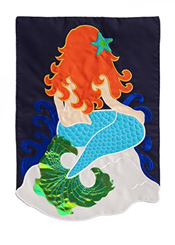 Evergreen Detailed Mermaid Applique House Flag, 28 x 44 inches