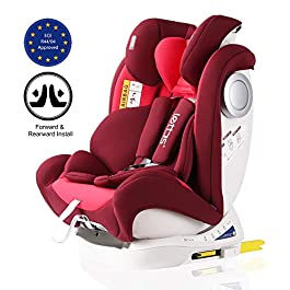 LETTAS Convertiblle 0+1/2/3 PLUS Group (0-36 kg/ 0-12 Year) Combination Baby Car Seat Reclining ISOFIX-Red