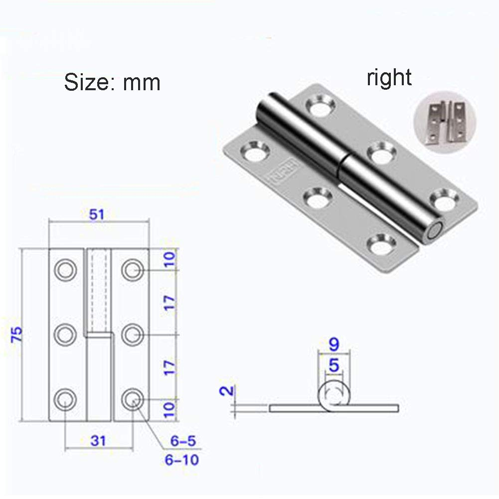 NQFL Door Hinge Stainless Steel Spring Hydraulic Buffer Automatic Closing Door Closer Damping Hinge Silver(2 Pairs)-36.764mm