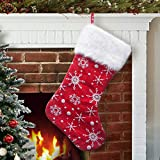 S-DEAL Red White Snow Pattern 21 Inches Christmas Stocking Double Layers Gift Holders Xmas Holiday Party Mantel Decoration