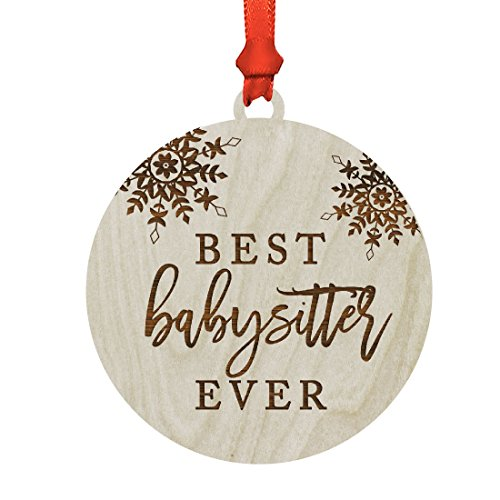 Andaz Press Round Laser Engraved Wood Christmas Ornament, Best Babysitter Ever, Snowflakes, 1-Pack, Includes Ribbon and Gift Bag, Birthday Present Gift Ideas