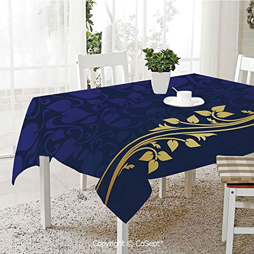(SCOXIXI Spillproof Tablecloth,Romantic Royal Leaf Pattern with Golden Floral Branch with Leaves,Table Cloth for Kitchen Dinning Tabletop Decoration(60.23
